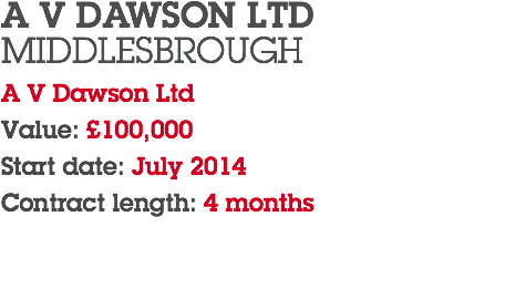 A V DAWSON LTD